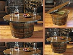 Whiskey Barrels ~ Table With Storage Wine Barrel Coffee Table, Coffee Tables,  Repurposing,