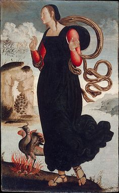 Hope, from The Theological Virtues: Faith, Charity, Hope, c.1500; the phoenix represents resurrection. (Metropolitan Museum of Art)