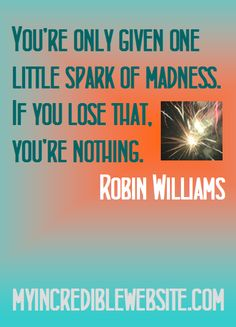 You're only given one little spark of madness. If you lose that, you're nothing. — Robin Williams