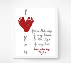 Valentines Day Gift for New Dad - Gift for Grandparents, Valentine for Grandma, Mom - Red Heart I Love You Art Print