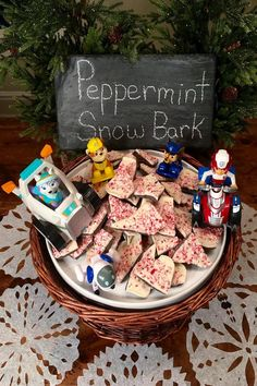 This PAW Patrol peppermint snow bark is a pup-tastic holiday recipe that parents and preschoolers can do together!