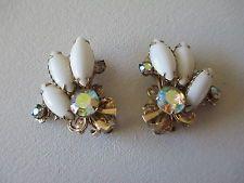 Vintage Milk Glass AB Rhinestone Clip Earrings Retro