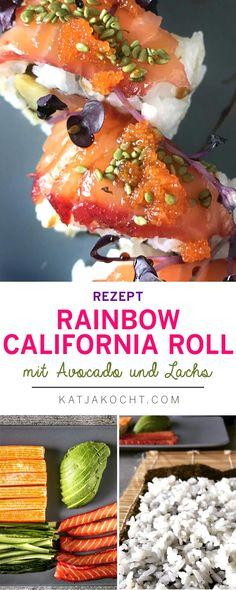Rainbow California-Rolls mit Surimi, Avocados, Gurken und Lachs gefüllt sind mein liebstes japanisch-amerikanisches Fusion-Gericht. Groß, saftig, farbenfroh und üppig belegt mit Lachs, Sesamkörnern, Rettichsprossen und Tobibiko - so liebe ich die amerikanische Küche! Ihr auch?