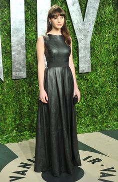 felicity jones in leather gown at 2012 oscars vanity fair party