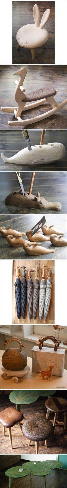 日本艺术家若野忍的木艺作品,充满童趣的小动物造型的椅子、小木马、雨伞……每一个都很有爱! - 每一个都好想带回家!!!