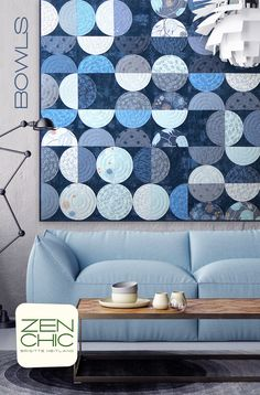 Bowls is a modern machine appliquéd quilt by Zen Chic, making use of a Layer Cake from the April 2017 available collection TRUE BLUE by Zen Chic for Moda. Download your PDF pattern today!