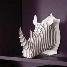 Robbie Jr. Medium Rhino Trophy Brown or White by CardboardSafari