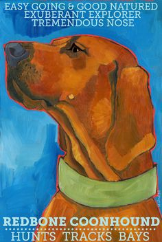 Coonhound No. 3 - Redbone magnet from original oil painting Plott Hound, Hound Dog, Redbone Coonhound, Bloodhound, Vizsla, Remembrance Gifts, Red Bone, Dog Mom Gifts, Dog Pin