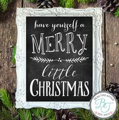 Have yourself a Merry Little Christmas! Such a darling sign to have in your home this holiday season! SIZE: •Inside Chalkboard: ~16 x 20 •Fits 16
