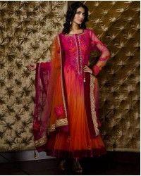 Orange/Purple Embroided Anarkali Frock Crinkle Chiffon Party Dress Pakistani Indian Bridal Wear pakistani men kurta Pakistani men shalwar kameez Pakistani men suits