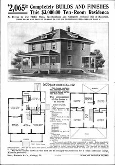 Foursquare House Plans - Is Your Old House From a Catalog?: Sears Catalog Modern Home No. 102 House Design Maybe Your Foursquare House Is From a Catalog Vintage House Plans, Modern House Plans, Modern House Design, House Floor Plans, The Plan, How To Plan, Building Plans, Building A House, Building Ideas
