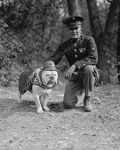 Officer & Dressed Up Dog 1925 Vintage 8x10 Reprint Of Old Photo