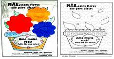 Lembrancinha: Cartão com flores para imprimir e colorir