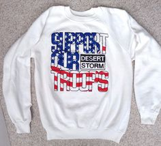 White shirt with red/white/blue screen-printed American Flag lettering and black Desert Storm logo. -Overall this looks awesome but there are afew SMALL spots to note. See photos 3, 4, 5, and also there are a couple others that are even harder to see and are impossible to capture on camera.   eBay!