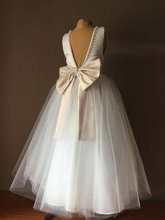 2591c9505 BELLA Ivory Satin Tulle Flower Girl Dress Champagne Bow Dress Wedding  Bridesmaid Dress