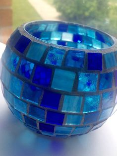 Stained glass mosaic candle holder votive by LittlepiecesByLisa