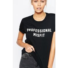 Adolescent Clothing Professional Misfit T-Shirt ($32) ❤ liked on Polyvore featuring black