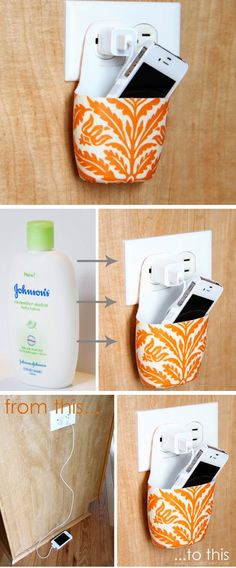 Holder for Charging Cell Phone | Click Pic for 20 DIY Small Apartment Organization Ideas for the Home | Easy Storage Ideas for Bedrooms Dollar Stores