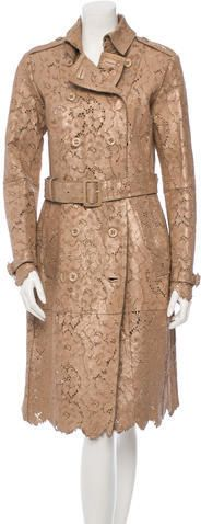 Burberry Prorsum Laser Cut Leather Trench w/ Tags