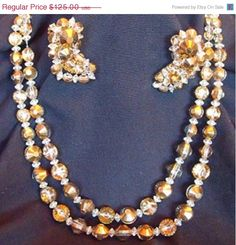 Sale Stunning Hobe 2 Strand Necklace and Clip by EstatesInTime