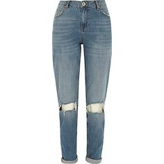 Mid wash ripped knee Ashley boyfriend jeans £40.00
