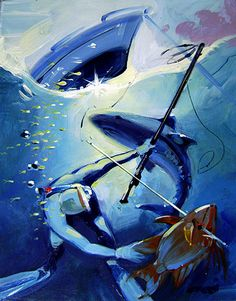 """Titled, """"Bull Shark,"""" this #SurfArt painting by #RonCroci portrays a free diver who has just speared a Rooster Fish while a Bull Shark prowls menacingly above the diver. This original oil was created for an article on Bull Shark attacks in Spearfishing Magazine."""