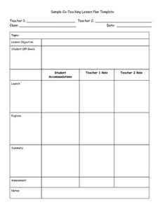 Small group rti special education lesson plan for Cooperative learning lesson plan template
