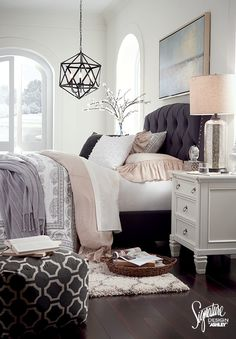 Inspirational Bedroom - Ashley Furniture - Furniture and Accessories - AshleyFurniture - Bedroom Design Ideas Home Bedroom, Master Bedroom, Bedroom Decor, Bedroom Furniture, Office Furniture, Bedroom Ideas, Decorating Bedrooms, Bedroom Lamps, Bedroom Colors