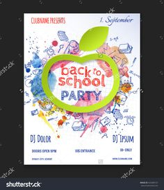 Back To School Party Flyer Design With Doodle Elements And Paper Apple. Vector Template Of Invitation, Flyer, Poster Or Greeting Card. -…