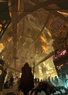 Impressive SciFi illustration for the graphic novel 'Gateway' by Germany based concept artist and illustrator Lorenz Hideyoshi Ruwwe. Cyberpunk Kunst, Sci Fi Kunst, Cyberpunk City, Futuristic City, Fantasy Kunst, Sci Fi Fantasy, Sci Fi Stadt, Science Fiction Kunst, Arte Sci Fi