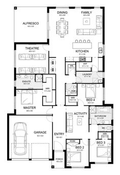 Jade 31 - Single Level - Floorplan by Kurmond Homes - New Home Builders Sydney NSW 4 Bedroom House Plans, New House Plans, Dream House Plans, House Floor Plans, Home Design Floor Plans, Storey Homes, House Blueprints, New Home Builders, Sims House