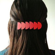 hair piece gold leaf hair barrette bold accessories festive hair accessory Handmade polymer clay hair barrette marble clay hair clip