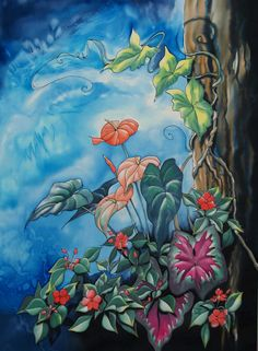 """""""Fairy Garden 1"""", 48 x 32 inches, silk painting by Pamela Glose.  Find out about her ebooks on silk painting (they include video instruction) at www.MySilkArt.com"""