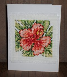 Hibiscus cross-stitch card kit, flower bloom counted cross stitch, 14 count aida…
