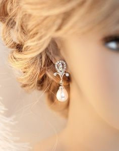 1920s Bridal Pearl Earrings Rhinestone van LottieDaDesigns op Etsy