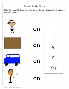 Free phonics worksheets: these activities cover the -an family of words. Includes a matching game, a fill-in-the-blanks worksheet and a printable phonics booklet.