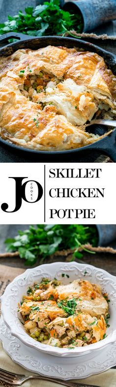 This skillet chicken pot pie is the ultimate comfort food perfect for cold winter nights with a golden pastry crust and loaded with creamy chicken and veggies. Turkey Recipes, Chicken Recipes, Dinner Recipes, Skillet Chicken Pot Pie Recipe, Skillet Food, Chicken Meals, Dinner Menu, Dinner Ideas, Jo Cooks
