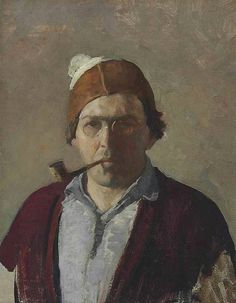 "Wyeth (American, Artist : ""Self-portrait with Pipe"", Oil on canvas, x 13 in. Jamie Wyeth, Andrew Wyeth, Art And Illustration, Figure Painting, Painting & Drawing, Encaustic Painting, Illustrator, Nc Wyeth, Portrait Art"