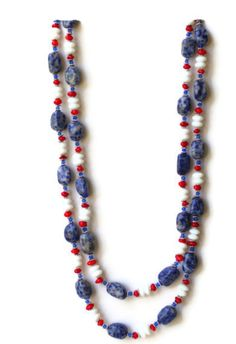 Chunky Double Strand Blue White Red Statement Necklace/ Long Two Strand Necklace/ Semiprecious Natural Stones Sodalite Coral/ OOAK Unique