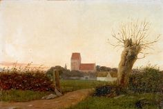 Laurits Andersen Ring (1854-1933): Landscape in evening light. Signed L.A. Ring. Oil on canvas mounted on panel