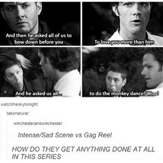 Anyone else notice that in the sad intense scenes it's usually Jensen you see in the gag reel doing something to make Jared/Misha laugh. Like he can tell it might be getting to real, and he has to make them feel better, bring them back to him. Always looking out for his little brother and his best friend. Just saying.
