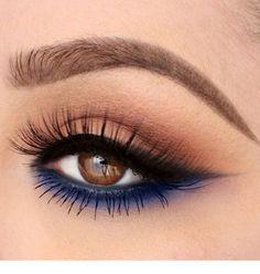 "Undereye navy blue makeup History of eye makeup ""Eye care"", put simply, ""eye make-up"" has Navy Blue Makeup, Blue Eye Makeup, Makeup For Brown Eyes, Hooded Eye Makeup, Eyeshadow Makeup, Makeup Brushes, Hair Makeup, Makeup Remover, Blue Eyeshadow For Brown Eyes"