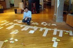 """floor map- They broke the book down into hundreds of scenes, copied them onto colored index cards, and spread the cards on the floor, with each color representing a different character or time period. The house looked like """"a Zen garden of index cards,"""" Lana said. At the end of the day, they'd pick up the cards in an order that they hoped would work as the arc of the film. Reading from the cards, Lana would then narrate the rearranged story. The next day, they'd do it again."""