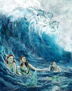 Art Gallery of the Fantastical — Susan Schroder Arts Fantasy Mermaids, Unicorns And Mermaids, Mermaids And Mermen, Mermaid Drawings, Mermaid Art, Mermaid Paintings, Tattoo Mermaid, Vintage Mermaid, Fantasy Creatures