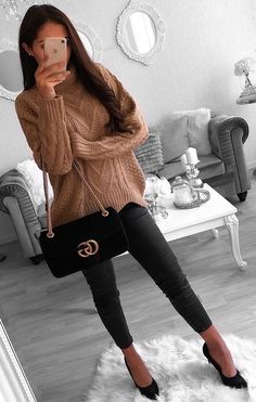 #winter #outfits brown turtle neck sweater