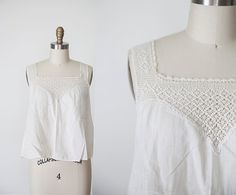 1950s Crochet White Blouse // SM by strawberrykoi on Etsy, $45.00