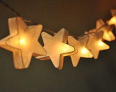 white stars light garland