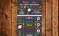 Candyland Birthday Chalkboard, Candy Birthday Chalkboard, Lollipop Birthday Chalkboard, First Birthday Chalkboard, Birthday Sign, Lollipop