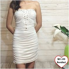 Shimmering Gold/White Dress Stretchy and comfortable! Gorgeous color! Perfect for a night out when a LBD just won't cut it. Zips in the back. Never worn. This item is available!  ***Offers made at or below the bundled price will not be accepted*** Dresses Mini