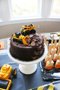 3 Year Old Birthday Cake, Truck Birthday Cakes, Boy Birthday Parties, 2nd Birthday Cakes For Boys, 3rd Birthday, Birthday Ideas, Birthday Banners, Birthday Invitations, Kids Construction Cake